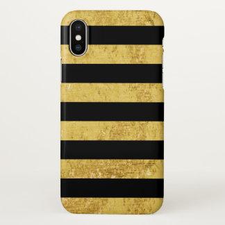 Elegant Gold Foil and Black Stripe Pattern iPhone X Case