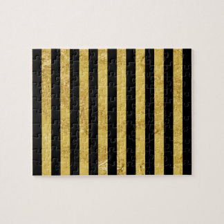 Elegant Gold Foil and Black Stripe Pattern Jigsaw Puzzle