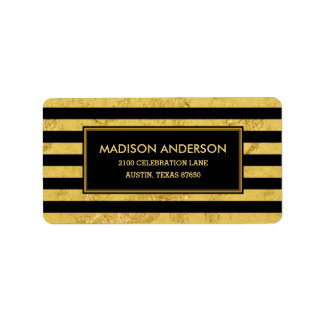Elegant Gold Foil and Black Stripe Pattern Label