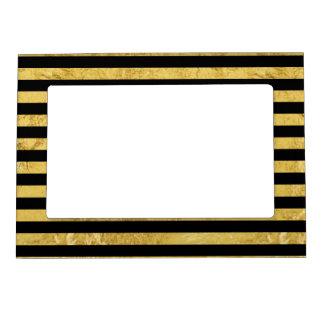 Elegant Gold Foil and Black Stripe Pattern Magnetic Frame