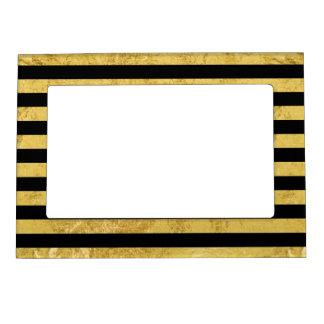 Elegant Gold Foil and Black Stripe Pattern Magnetic Picture Frame