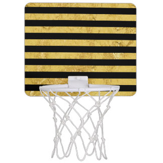 Elegant Gold Foil and Black Stripe Pattern Mini Basketball Hoop