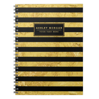 Elegant Gold Foil and Black Stripe Pattern Notebook