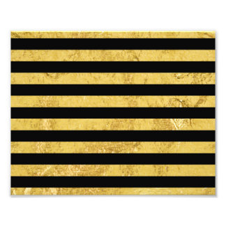 Elegant Gold Foil and Black Stripe Pattern Photo Print