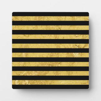 Elegant Gold Foil and Black Stripe Pattern Plaque