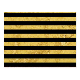 Elegant Gold Foil and Black Stripe Pattern Postcard