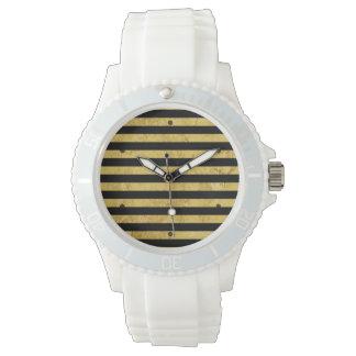 Elegant Gold Foil and Black Stripe Pattern Watch
