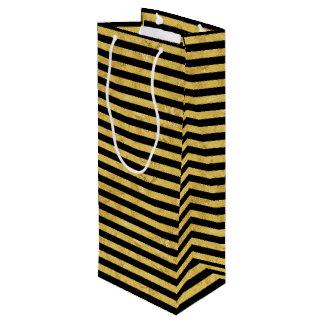 Elegant Gold Foil and Black Stripe Pattern Wine Gift Bag