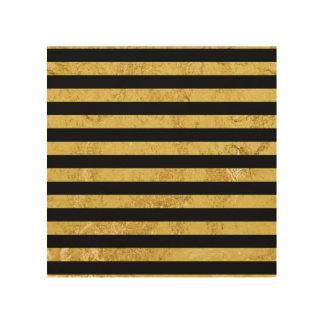Elegant Gold Foil and Black Stripe Pattern Wood Print