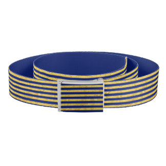 Elegant Gold Foil and Blue Stripe Pattern Belt
