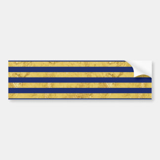 Elegant Gold Foil and Blue Stripe Pattern Bumper Sticker