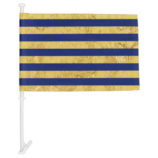 Elegant Gold Foil and Blue Stripe Pattern Car Flag