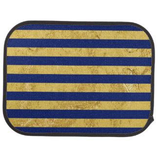 Elegant Gold Foil and Blue Stripe Pattern Car Mat