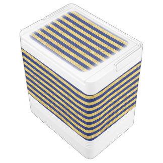 Elegant Gold Foil and Blue Stripe Pattern Cooler