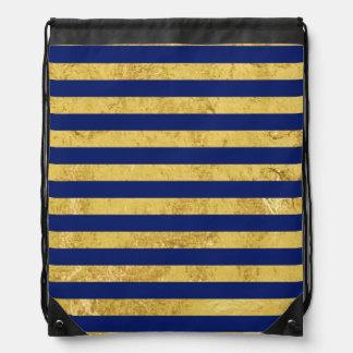 Elegant Gold Foil and Blue Stripe Pattern Drawstring Bag