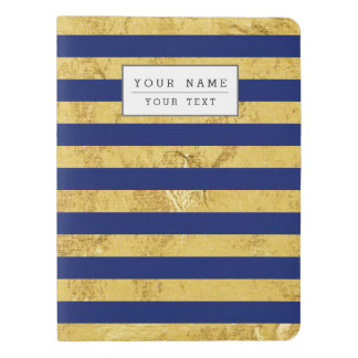 Elegant Gold Foil and Blue Stripe Pattern Extra Large Moleskine Notebook