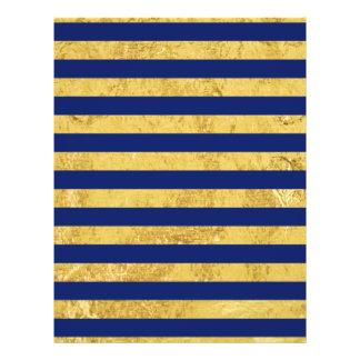 Elegant Gold Foil and Blue Stripe Pattern Flyer