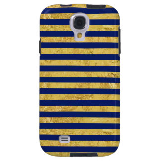 Elegant Gold Foil and Blue Stripe Pattern Galaxy S4 Case