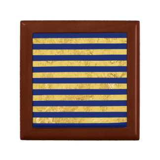 Elegant Gold Foil and Blue Stripe Pattern Gift Box