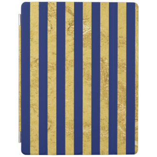 Elegant Gold Foil and Blue Stripe Pattern iPad Cover