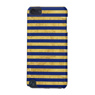 Elegant Gold Foil and Blue Stripe Pattern iPod Touch 5G Covers
