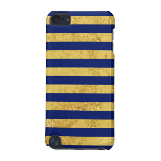 Elegant Gold Foil and Blue Stripe Pattern iPod Touch (5th Generation) Cases