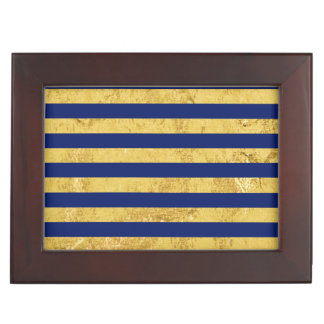 Elegant Gold Foil and Blue Stripe Pattern Keepsake Box