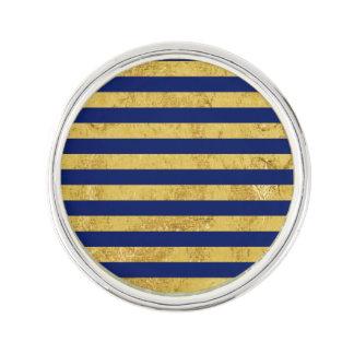 Elegant Gold Foil and Blue Stripe Pattern Lapel Pin