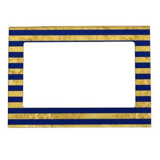Elegant Gold Foil and Blue Stripe Pattern Magnetic Frame
