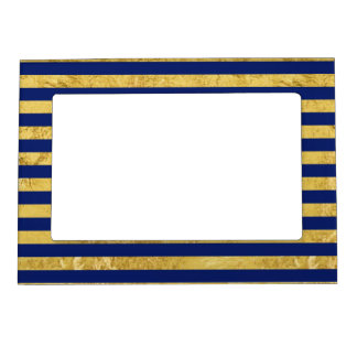 Elegant Gold Foil and Blue Stripe Pattern Magnetic Picture Frame