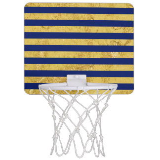 Elegant Gold Foil and Blue Stripe Pattern Mini Basketball Hoop