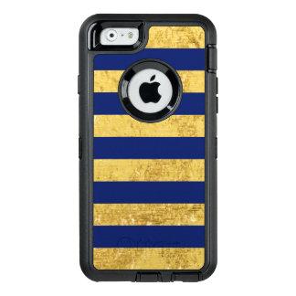 Elegant Gold Foil and Blue Stripe Pattern OtterBox Defender iPhone Case