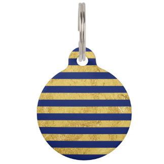 Elegant Gold Foil and Blue Stripe Pattern Pet Tag