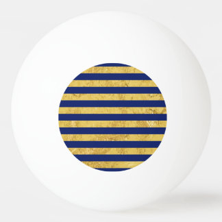 Elegant Gold Foil and Blue Stripe Pattern Ping Pong Ball