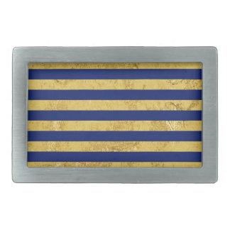 Elegant Gold Foil and Blue Stripe Pattern Rectangular Belt Buckles
