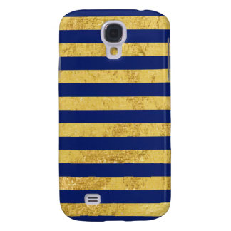 Elegant Gold Foil and Blue Stripe Pattern Samsung Galaxy S4 Covers