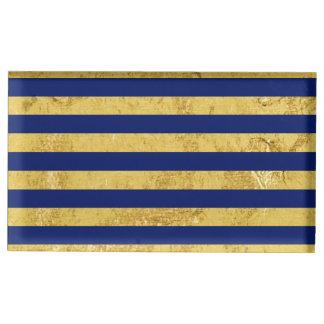 Elegant Gold Foil and Blue Stripe Pattern Table Card Holder