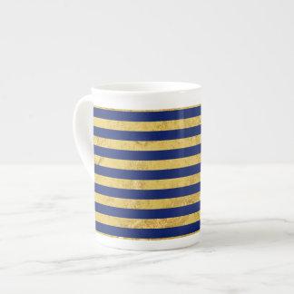 Elegant Gold Foil and Blue Stripe Pattern Tea Cup