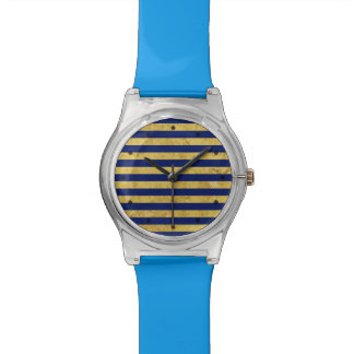 Elegant Gold Foil and Blue Stripe Pattern Watch