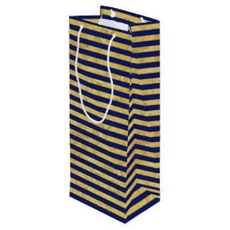 Elegant Gold Foil and Blue Stripe Pattern Wine Gift Bag