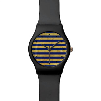 Elegant Gold Foil and Blue Stripe Pattern Wrist Watches