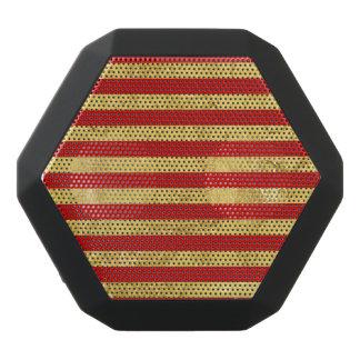 Elegant Gold Foil and Red Stripe Pattern Black Bluetooth Speaker