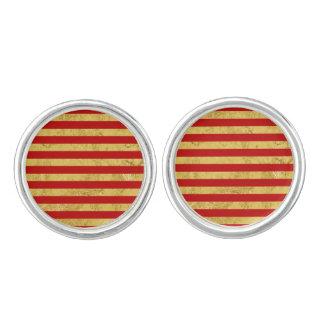 Elegant Gold Foil and Red Stripe Pattern Cuff Links