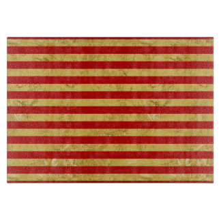 Elegant Gold Foil and Red Stripe Pattern Cutting Board