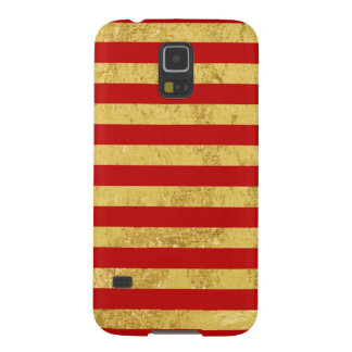 Elegant Gold Foil and Red Stripe Pattern Galaxy S5 Cover