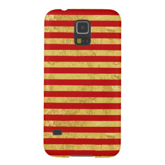 Elegant Gold Foil and Red Stripe Pattern Galaxy S5 Covers