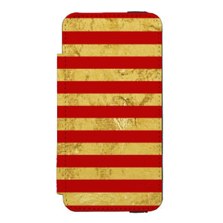 Elegant Gold Foil and Red Stripe Pattern Incipio Watson™ iPhone 5 Wallet Case