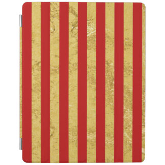 Elegant Gold Foil and Red Stripe Pattern iPad Cover