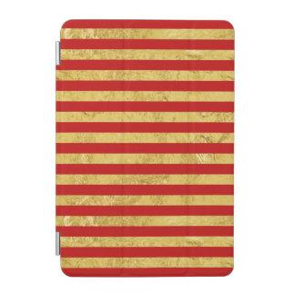Elegant Gold Foil and Red Stripe Pattern iPad Mini Cover