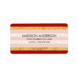 Elegant Gold Foil and Red Stripe Pattern Label